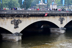 Paris floods with Seine river level dropped to normal Stock Photos