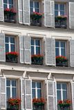French Flower Boxes and Window Shutters Stock Photography