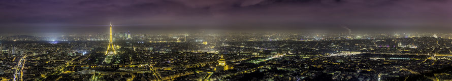 Paris flyg- panoramasikt på natten Fotografering för Bildbyråer