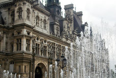 Paris fountain. Fountain in front of Hotel de ville,Paris,France Stock Photo