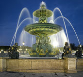 Paris: Fountain at the Place de la Concorde at nig Stock Photography