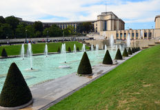 Paris. Fountains at Tracadero. Trocadero is area of  on banks of Seine not far from famous Eiffel Tower. On a hilltop in 1937 built a new palace - Palais de royalty free stock image