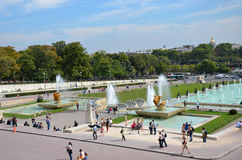 Paris. Fountains at Tracadero. Trocadero is area of  on banks of Seine not far from famous Eiffel Tower. On a hilltop in 1937 built a new palace - Palais de stock photos