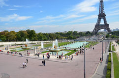 Paris - Fountains at Tracadero. Trocadero is area of Paris on banks of Seine not far from famous Eiffel Tower. On a hilltop in 1937 built a new palace - Palais stock photography