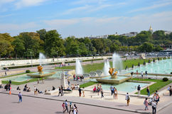 Paris - Fountains at Tracadero. Trocadero is area of Paris on banks of Seine not far from famous Eiffel Tower. On a hilltop in 1937 built a new palace - Palais royalty free stock photo