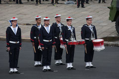 Paris, França - 14 de julho de 2012 Os músicos participam na parada militar anual em honra do dia de Bastille Foto de Stock Royalty Free