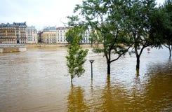 PARIS, FRANÇA - 4 de junho de 2016: As inundações as mais más em um hav do século Imagens de Stock