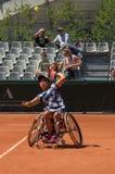 PARIS, FRANÇA - 10 DE JUNHO DE 2017: Cadeira de rodas fi da mulher de Roland Garros Foto de Stock Royalty Free
