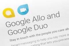Paris, França - 14 de junho de 2017: O close-up em Google pedidos Allo e do duo para telefones de Android e tabuletas Google é um Foto de Stock Royalty Free