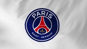 Paris, França - 9 de maio de 2018: Bandeira de ondulação com animação 2 do clube do futebol de FC Paris Saint Germain em 1 ilustração royalty free