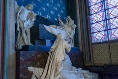PARIS, FRANÇA, o 23 de abril de 2016 Interior dos detalhes da catedral de Notre Dame Foto de Stock Royalty Free