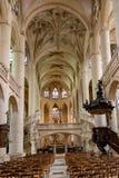 PARIS, FRANÇA, o 23 de abril de 2016 Interior dos detalhes da catedral de Notre Dame Fotografia de Stock Royalty Free