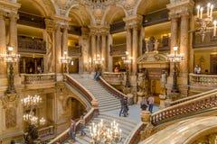 Paris, França, o 31 de março de 2017: Vista interior de Opera de nacional Paris Garnier, França Foi construído desde 1861 a Imagens de Stock