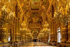 Paris, França, o 31 de março de 2017: Vista interior de Opera de nacional Paris Garnier, França Foi construído desde 1861 a Foto de Stock Royalty Free