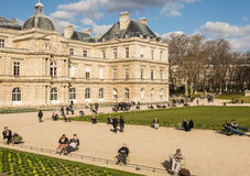 PARIS, FRANCE � MARCH 05, 2014: People enjoying the beginning Stock Photos