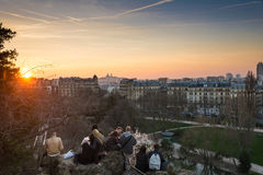 PARIS, FRANCE – MARCH 06, 2014: People enjoying the popular vi Royalty Free Stock Photography