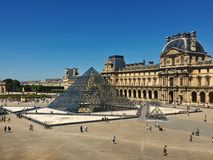 Paris, France – May 7, 2018: Louvre Museum with Louvre Pyramid stock photos