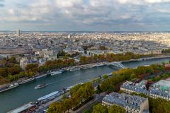 Aerial view from the Eiffel Tower of the River Seine Stock Images