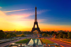 Paris, France. Sunrise in Paris, with the Eiffel Tower Royalty Free Stock Photos