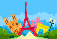 Paris France Abstract City Silhouette Flat. Colorful Vector Illustration stock illustration