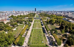 Paris, France. Aerial view of the Champ de Mars, Montparnasse tower in the background, Paris, France Stock Photo
