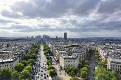 Paris, France . Aerial view on the Eiffel Tower, Arc de Triomphe, Les Invalides etc. Royalty Free Stock Photography