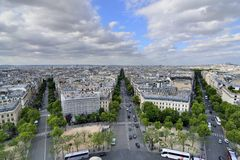 Paris, France . Aerial view on the Eiffel Tower, Arc de Triomphe, Les Invalides etc. Royalty Free Stock Images
