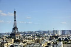 Paris, France . Aerial view on the Eiffel Tower, Arc de Triomphe, Les Invalides etc. Royalty Free Stock Image