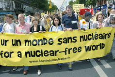 Paris, FRANCE - Anti-Nuclear Power Demonstration. By Several Environmental N.G.O's.  Divers Crowd Holding Anti-Nuclear Power Sign on Street Near Place de la Stock Images