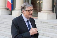 Free PARIS, FRANCE - APRIL 16, 2018 : Bill Gates At The Elysee Palace Stock Images - 179611664