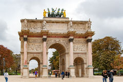 PARIS, FRANCE APRIL 22. Arc de Triomphe du Carrousel. Between Place du Carrousel and the Tuileries garden Stock Photos