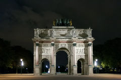 PARIS, FRANCE APRIL 23. Arc de Triomphe du Carrousel. Between Place du Carrousel and the Tuileries garden, at night Stock Photo