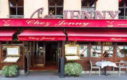 Chez Jenny is the legendary and famous Alsatian brasserie located on Republique square in Paris, France. Paris, France-April 07,2018 : Chez Jenny is famous Stock Photography