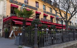 Chez Jenny is the legendary and famous Alsatian brasserie located on Republique square in Paris, France. Paris, France-April 07,2018 : Chez Jenny is famous Royalty Free Stock Photo