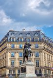 Statue of King Louis XIV at Place de Victoires in Paris stock image