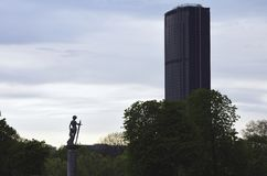 Luxembourg gardens or garden of the French Senate. Paris, France - April 08, 2019. Gardens of Luxembourg. Close up of the Montparnasse tower royalty free stock image