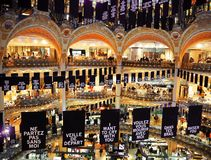 PARIS, FRANCE - APRIL 2017: inside famous Galeries Lafayette on August 3, 2013 in Paris. Galeries Lafayette is famous for the top royalty free stock image