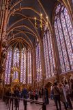 Paris, France - 1 April, 2017: - Interiors of the Sainte-Chapelle Holy Chapel. The Sainte-Chapelle is a royal medieval. Gothic chapel in Paris and one of the Stock Photo