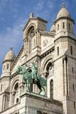 Joan of Arc statue in Monmartre. Paris, France - April 17, 2015: Joan of Arc statue at basilica Sacre Coeur in Montmartre Royalty Free Stock Photo
