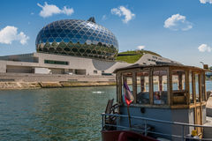 PARIS, FRANCE - APRIL 23, 2017 La Seine Musicale or City of Music on Seguin Island with peniche in Boulogne-Billancourt, south-wes Stock Photos