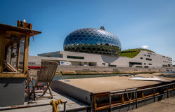 PARIS, FRANCE - APRIL 23, 2017 La Seine Musicale or City of Music on Seguin Island with peniche foreground in Boulogne-Billancourt Stock Photography