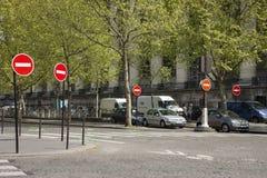 Paris, France - April 11, 2011: Lots of No Entry signs stock photos