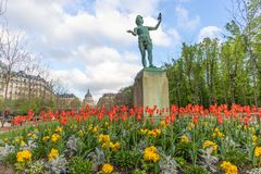 Paris, France - APRIL 9, 2019: Luxembourg Garden. Beatiful Tulips. Paris, France. Europe royalty free stock images