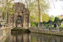 Paris, France - APRIL 9, 2019: Medici Fountain in the Luxembourg Garden, Paris. France stock images