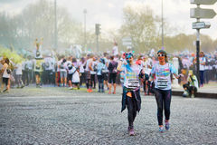 PARIS, FRANCE - APRIL 17: Participants of The Color Run on April 17, 2016 in Paris, France. The Color Run is a worldwide hosted fu Royalty Free Stock Image