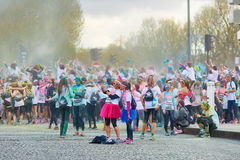 PARIS, FRANCE - APRIL 17: Participants of The Color Run on April 17, 2016 in Paris, France. The Color Run is a worldwide hosted fu Royalty Free Stock Photo