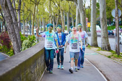 PARIS, FRANCE - APRIL 17: Participants of The Color Run on April 17, 2016 in Paris, France. The Color Run is a worldwide hosted fu Royalty Free Stock Images