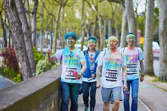 PARIS, FRANCE - APRIL 17: Participants of The Color Run on April 17, 2016 in Paris, France. The Color Run is a worldwide hosted fu Stock Image