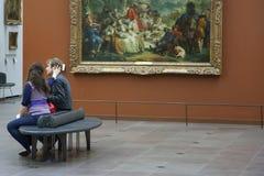 Paris, France - April 12, 2011: People at the Louvre Museum stock photos