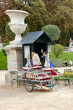 PARIS, FRANCE, april 26, 2016. Small toy boat hire station in the Luxembourg Palace gardens stock photography